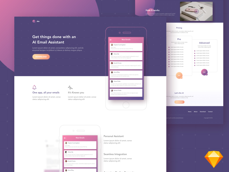 aie free app landing page template freebie download sketch