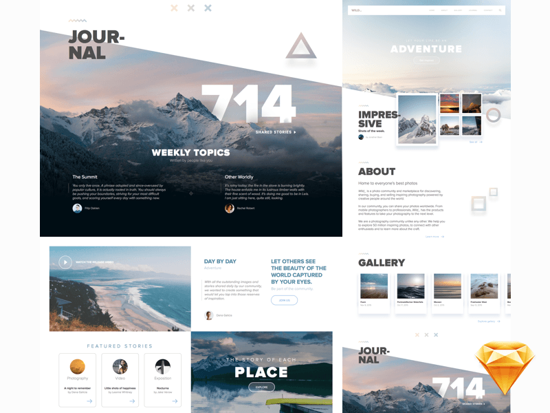 Wild_ Full Website Template for Sketch Freebie - Download Sketch ...