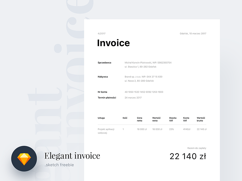 elegant invoice - sketch freebie freebie - download sketch, Invoice templates
