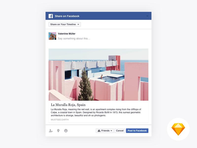 Facebook Web Share Dialog For Sketch Freebie Download Sketch