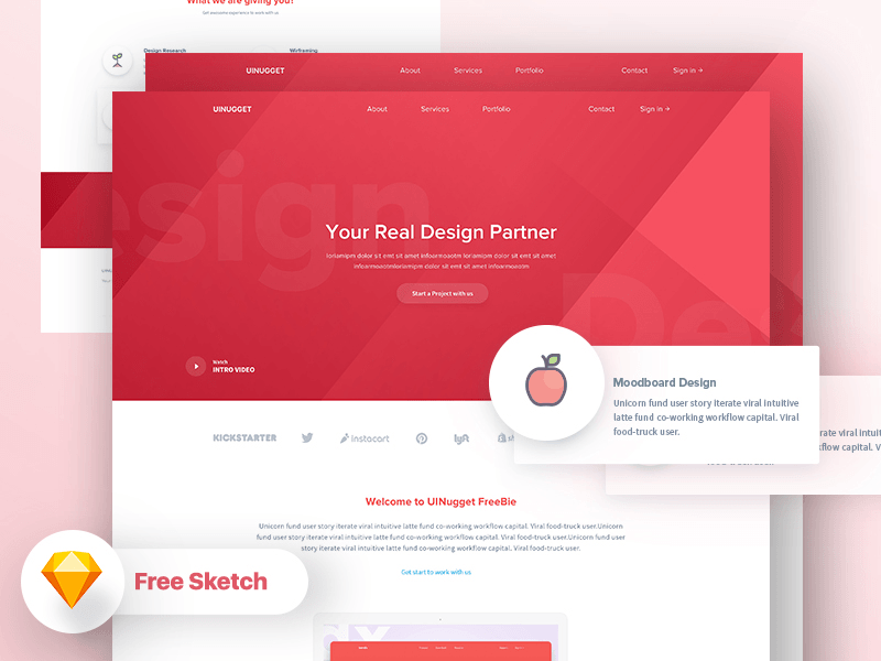 multi purpose landing page template free sketch freebie download