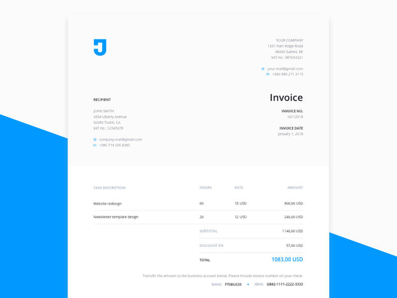 Invoice Template For Design Services Freebie Download Sketch