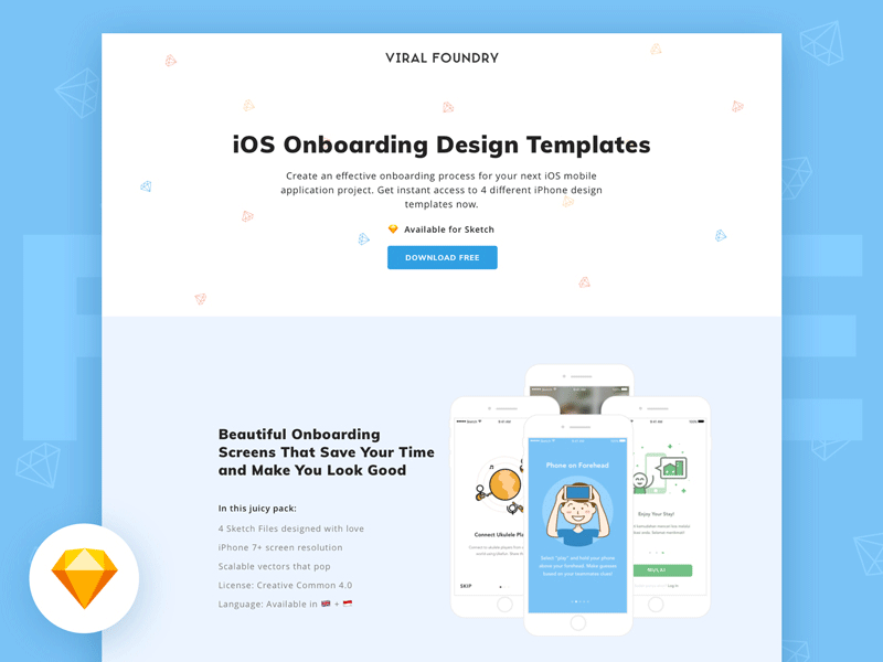 iOS Onboarding Design Sketch Templates Freebie - Download Sketch ...