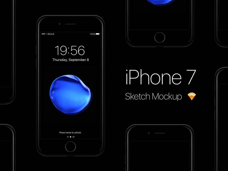 iPhone 7 – Jet Black Sketch Mockup