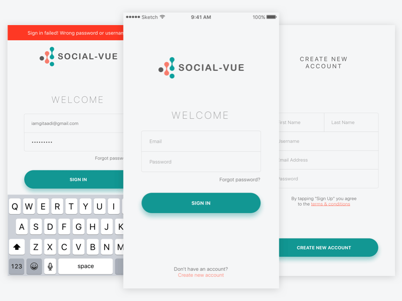 simple sign in sign up screens freebie download sketch resource