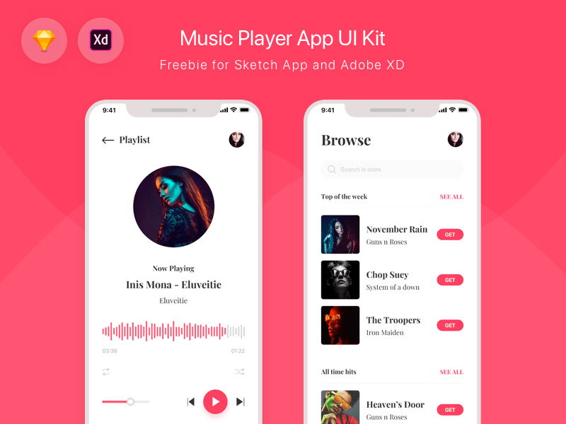 Music Player App Ui Kit Freebie Download Sketch Resource Sketch Repo
