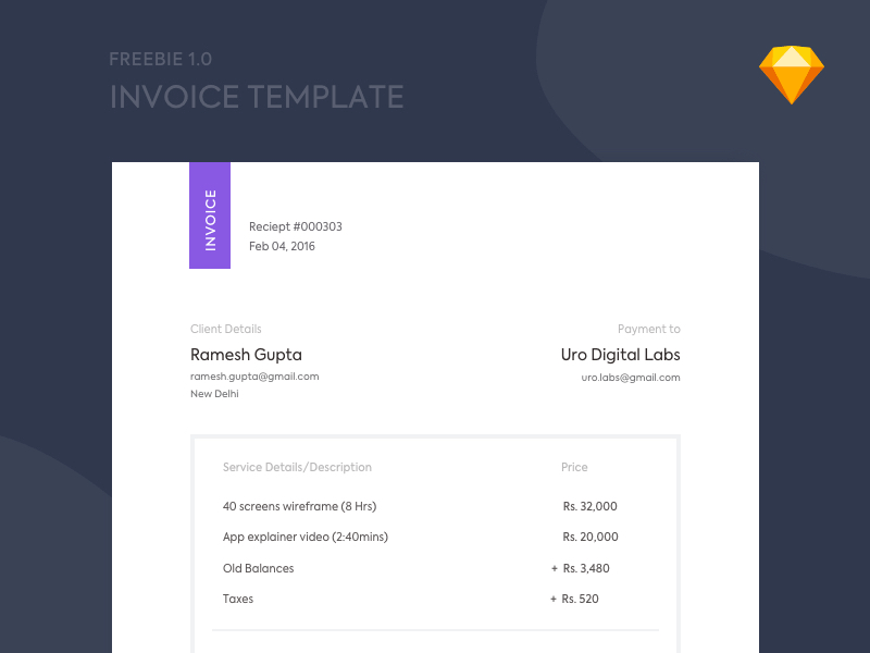 invoice sketch template freebie - download sketch resource, Invoice examples