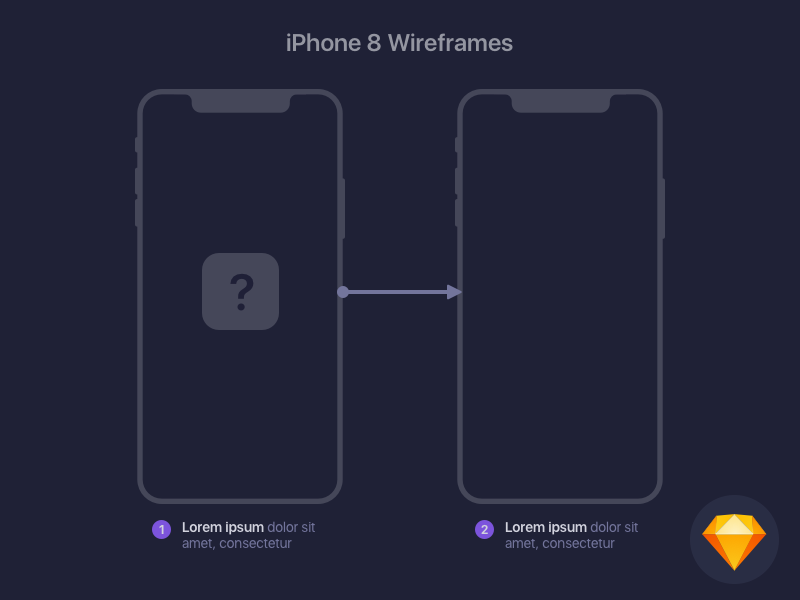 iPhone 8 Wireframe Template Freebie - Download Sketch Resource ...