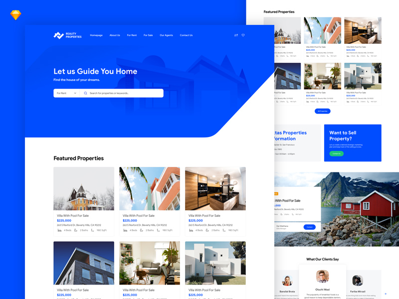 Local Real Estate Website Template Freebie Download Sketch
