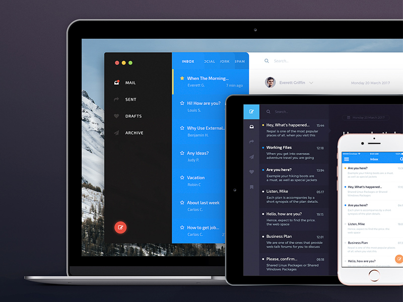 Envelope  Mail App Ui Kit Free Sample Freebie  Download Sketch