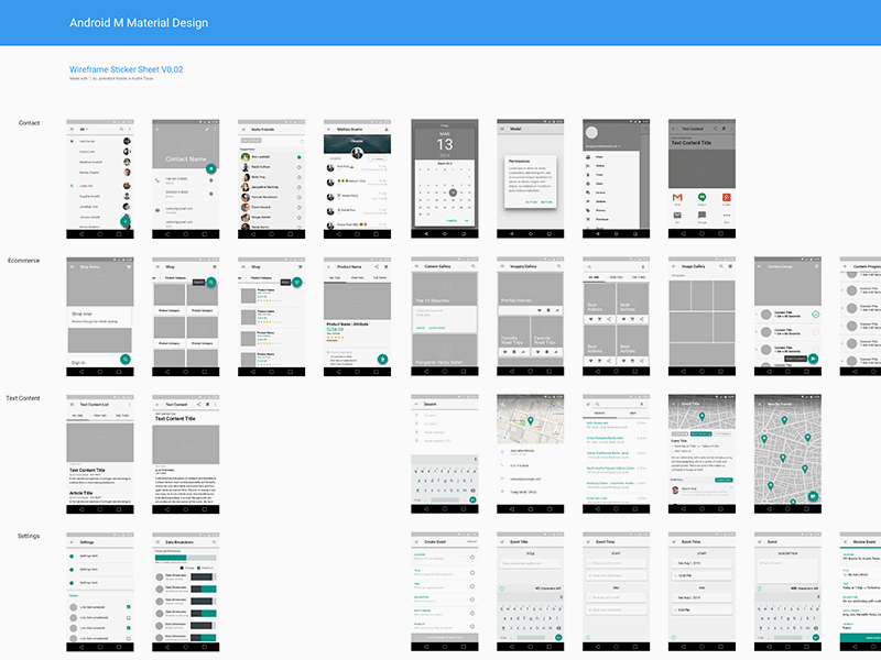 Material Design Wireframe Kit V2 Freebie - Download Sketch Resource ...