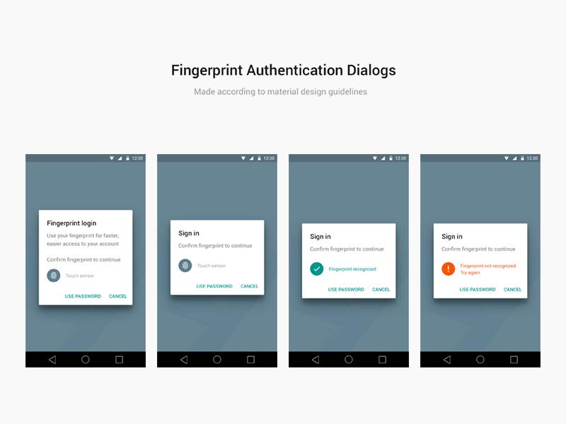 Android Material Design Fingerprint Dialogs for Sketch Freebie ...