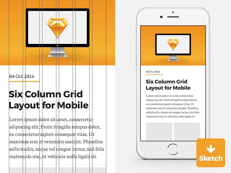 6 column grid for iphone sketch template freebie download sketch