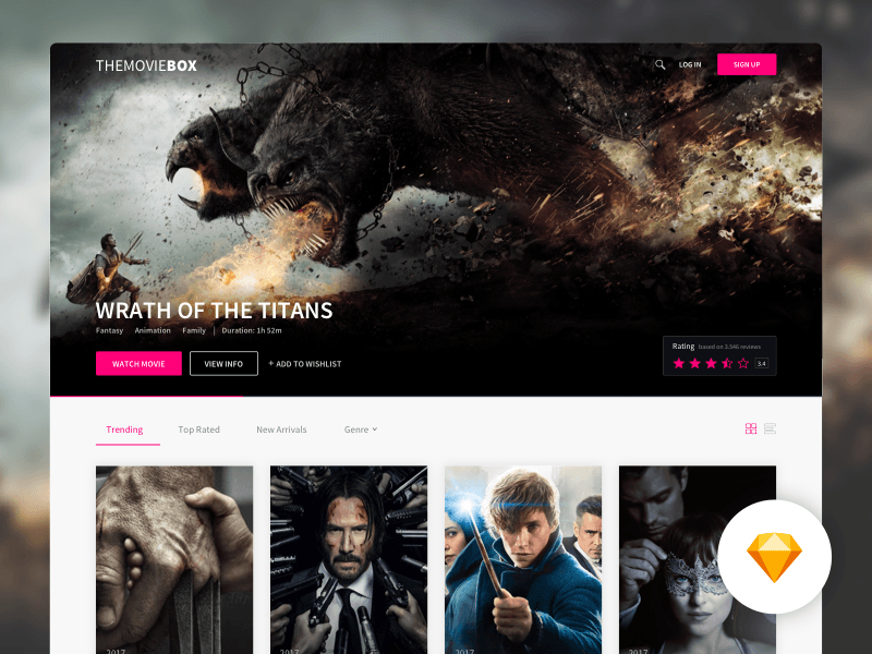 themoviebox movies website template freebie download sketch
